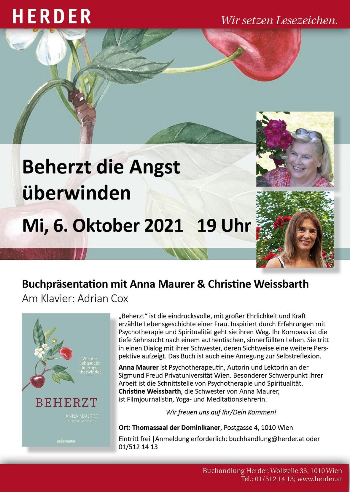 Beherzt die Angst überwinden, Mi. 6. Oktober 2021 19h, Buchpräsentation von Anna Maurer & Christine Weissbarth